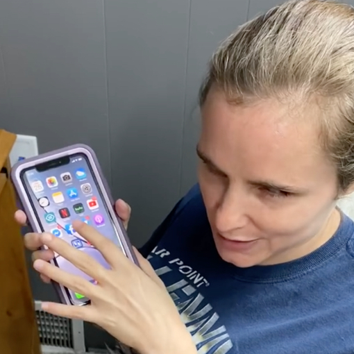 Krystie Viers who is blind, showing how she uses her iPhone