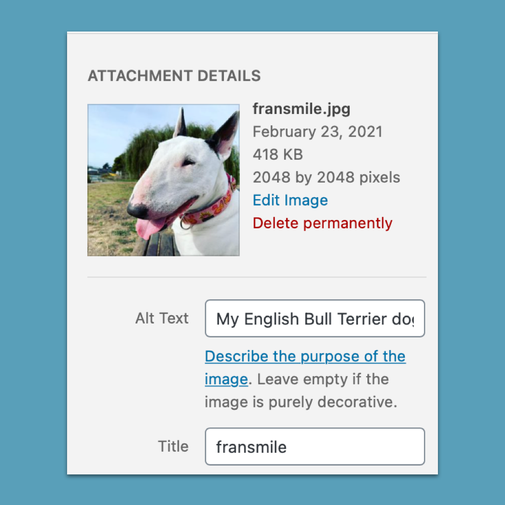 A copy screen of how to fill the Alt Text field on Worpress. The image is my English Bull Terrier dog, Fran, smiling for a photo in a park.