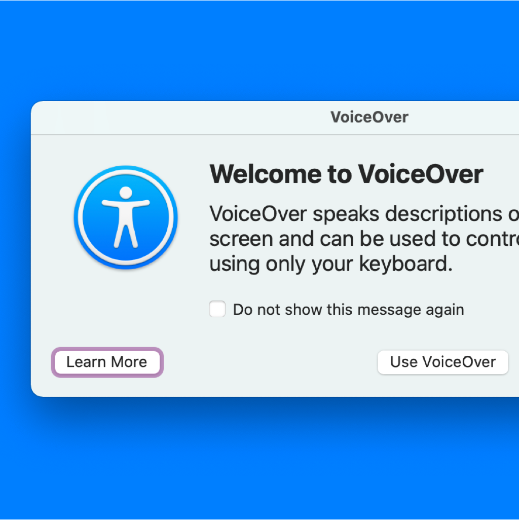 Screencopy of Voice Over's Welcome panel