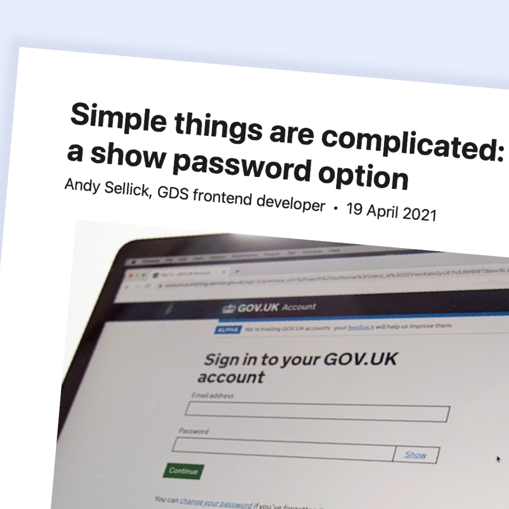 """Extract of the article """"Simple things are complicated: making a show password option"""""""