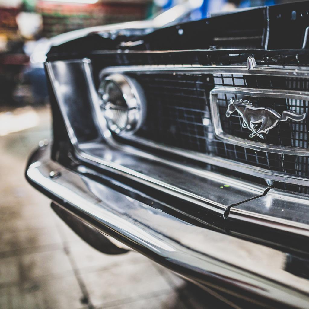 Closeup of an old Mustang car